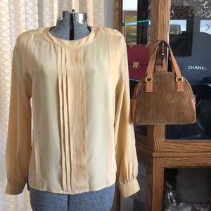 Balenciaga Gold 100% Silk Tuck Pleated Blouse M/L
